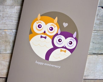 Gay/Same-Sex Happy Anniversary Owls Card