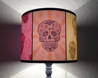 "Mexican Sugar Skulls, Calavera Lamp Shade Lampshade 7,9 ""x 9,8"" - skull lamp shade, calaveras, mexican decor, bohemian decor, rainbow colors"