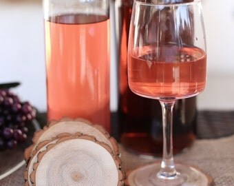 Wood Tree Slice Coaster Bridal Shower Gift Rustic Wedding Decor Wine Winery Wedding Favors