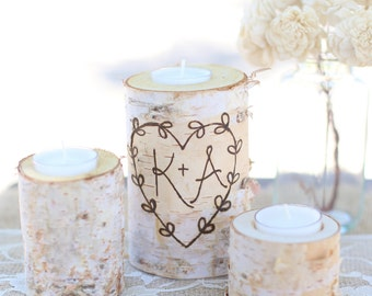 Personalized Engraved Rustic Wood Candle Holders Wedding Decor Christmas Gift Bridal Shower Birch Wood NVMHDAY2033