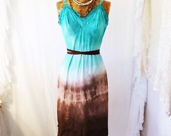 Small Teal and brown summer slipdress/Vintage/Couture/Paris Fashion/Tie Dye Slip Dress/Green Dress/Music Festival Wear/Green Goddess