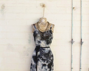 Small/Medium Tie Dye Vintage Slip/Black and White Slip/Upcycled/Ecru Rustic Wedding/Upcycled cowgirl/Tattered Revolution/French Summer