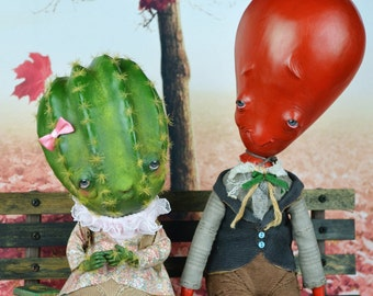 EXTRA SALE!!! C'est la vie - complicated love story  art doll air balloon boy cactus girl fantasy pure sculpt couple dolls date in the park