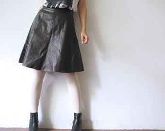 Real leather skirt. 70s leather skirt. a line skirt. hippie skirt - small
