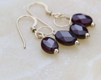 Garnet Gemstone Earrings, January Birthstone Earrings, Gold filled Earrings, Small Dangle Earrings, Gift for Her, Small Gold Earrings