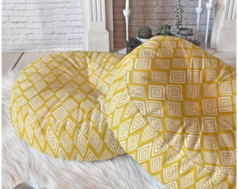 Yellow Floor Pillow // Round and Square Sizes // Modern Geometric // Diamond In The Rough Design // Tribal Print // Boho Style // Dorm Decor