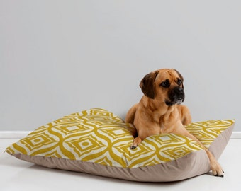 Yellow Dog Bed Pillow // Pet Bedding // Animal Pillow // Pet Mat // Modern Pet Bedding // Modern Geometric // Trevino Design // Dog Bed