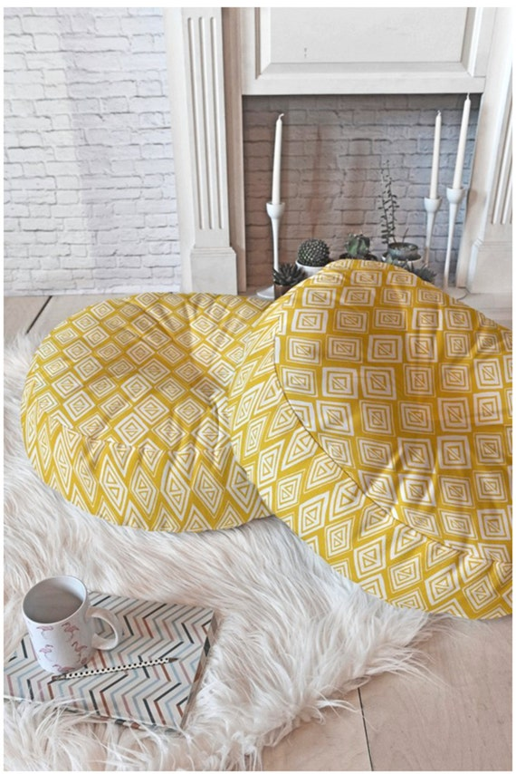 Floor Pillows Sizes : Yellow Floor Pillow // Round and Square Sizes // Modern