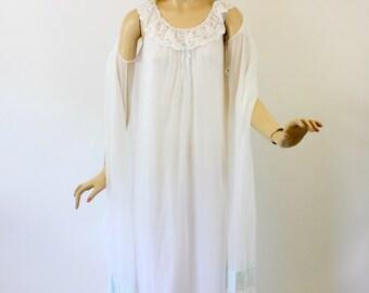 Vintage 60s Peignoir Set Shadowline Wedding White Nylon Chiffon w Light Blue Long Gown & Robe Size Small
