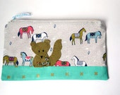 """Zipper Pouch, 9.25 x 5.75"""" in aqua, coral, grey, white and brown horse print with Handmade Felt Squirrel Embellishment, Horse Pencil Case"""