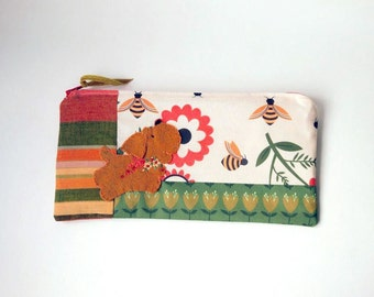 "Zipper Pouch, 4.5x9"" in red, gold, green, black, cream and orange bee print fabric with Handmade Felt Dog Embellishment, Puppy Zipper Pouch"