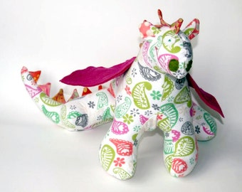 "Stuffed Animal Dragon Toy 10"" tall, 22"" wide in orange, pink, white lime green and gray Paisley Print Flannel Fabric, Baby Friendly Toy"