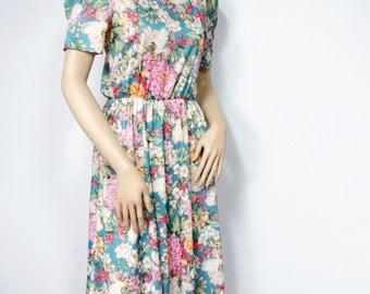Floral Dress Vintage 1980's Dress Spring Flowers Summer Dress Short Sleeve Dress Size Small