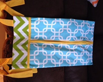 Diaper stacker holder crib turquoise lime and