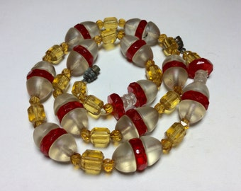 Unusual Art Deco Glass Bead Necklace  as is