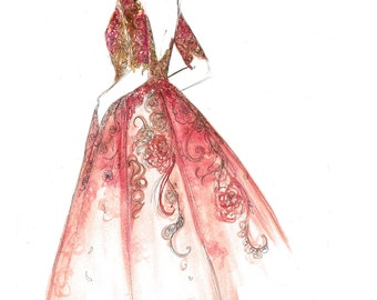 Razzle Dazzle Rose, print from original watercolor and pen fashion illustration by Jessica Durrant
