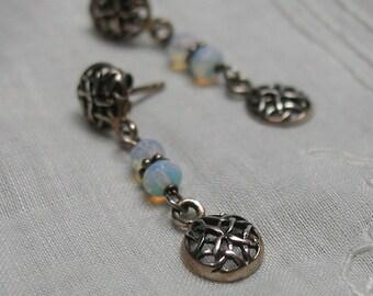 Sterling Silver Celtic Earrings Opalite Wire Wrapped 925 Post Top Dangle