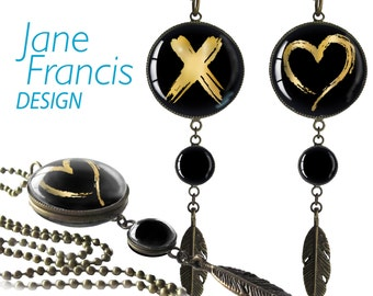 """Pendant Necklace  double sided Jewelry-""""Cross my Heart"""""""