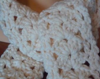 Thick Chunky Soft Scarf / White Scarf / Chunky Scarf / Soft Scarf / Crochet Scarf /