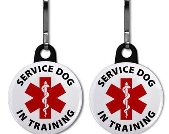 Service Dog In Training Medical Alert 2-Pack of Zipper Pull Charms (Choose Size and Backing Color)