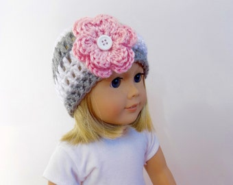 18 Inch Doll Hat, Gray and White Doll Beanie, Doll Clothes