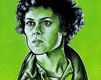 """SALE Ellen Ripley """"Aliens"""" painting"""
