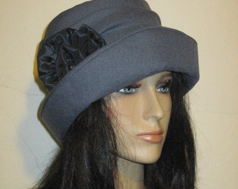 Blue Tweed Cloche Hat Womens Formal Fashion Winter Tea Derby