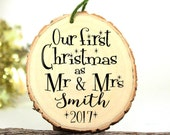Wedding Gift - Our First Christmas Ornament Mr and Mrs Wedding Ornament Personalized Wedding Gift Ornament - Wood -XMAS005