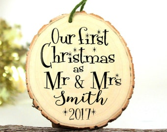 Wedding Gift - Our First Christmas Ornament Mr and Mrs Wedding Ornament Personalized Gifts for the Couple - Wedding Gift - Wood -XMAS005