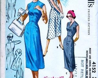 UNCUT * 1950s  McCall's  Pattern 4152 - Misses' Instant Sheath Dress w/ 3 Necklines - Size 12; Bust 32