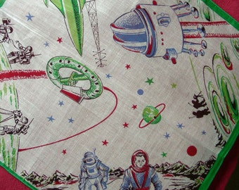 Vintage Childrens Cotton NOVELTY Hanky Handkerchief (Dark Green) -   Outer Space , Space Rockets Costumes, ASTRONAUTS Walking on the Moon