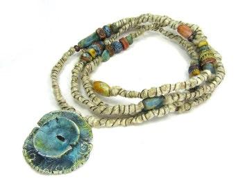 Bound Branch Hemp Necklace, Wire Bound, Contemporary Jewellery Necklace - Handmade Artisan Ceramic Bead Jewellery No. 417