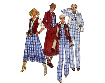 1970s Womens Suit Pattern Annie Hall Jacket, Vest, Tucked Dirndl Skirt and Pants 4 Piece Butterick 6253 Bust 34 Vintage Sewing Pattern