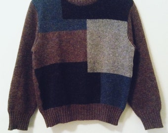 80's Color Block Wool Sweater