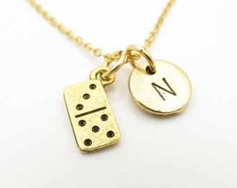 Domino necklace etsy domino necklace domino tile personalized initial necklace antique gold domino tile stamped aloadofball Image collections