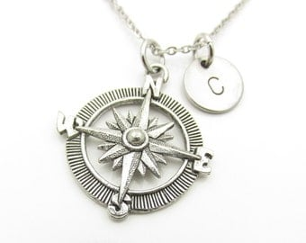 Compass Necklace, Antique Silver Compass Necklace, Personalized, Initial Necklace, Stamped Monogram, Silver Compass, Stainless Steel Y322