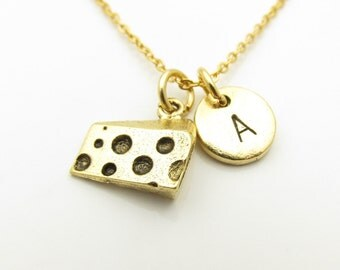 Cheese Necklace, Cheese Slice Necklace, Personalized, Monogram, Initial Necklace, Cheese Holes, Swiss Cheese, Food Themed Jewelry Z371