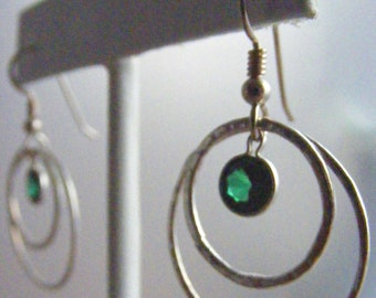 In the Round:  Laboratory Emerald and Hand Forged Fine Silver Earrings