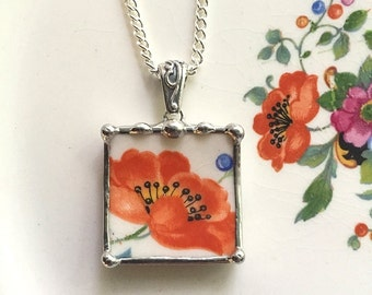 Broken china jewelry pendant necklace antique orange poppy poppies made from recycled china