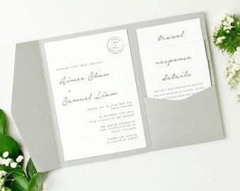 DIY Pocket Wedding Invitation Template | Instant DOWNLOAD | Parcel | Edit in Word or Pages | Print it Yourself | Mac & PC
