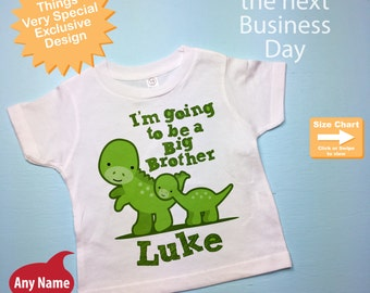 I'm Going to Be A Big Brother Shirt with Dinosaurs and Little Brother Personalized Tee Shirt or Onesie Pregnancy Announcement (05212012f)