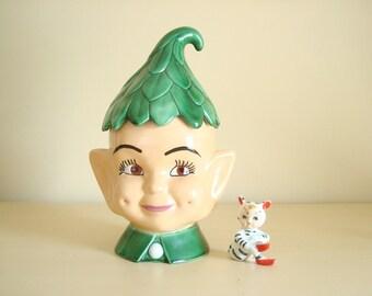 Pixie cookie jar, vintage cookie jar, smiling elf, green leaf cap, whimsical elf cookie jar, kitchen collectible, storage jar made in 1966