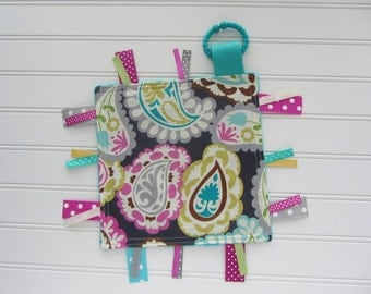 Ribbon Lovey - Baby Girl - Pink, Teal, Grey Paisley, Teal Minky Back, Ribbon Toy