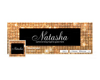 Timeline Cover and Profile Picture - Facebook Timeline Cover Sparkle Facebook Cover - Glam Social Media Cover - Natasha