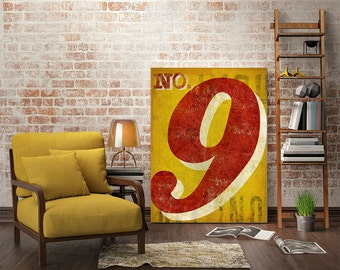 ANY NUMBER No. 8 - Custom Gas Station Number / Graphic Art / Stretched Canvas wall art
