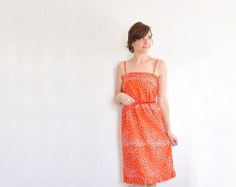 love heart Malia print dress . 1970 red white ruffle trim summer sheath .small .sale