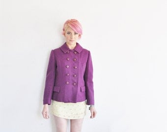 BRIGHT purple peacoat jacket . 1960 double breasted coat .small .sale