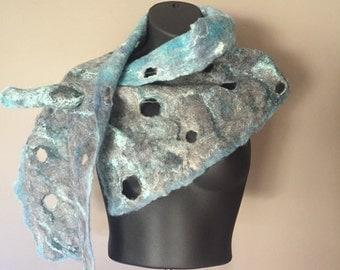 Blue Felted Scarf - Grey Wrap - Nuno Felted Scarf - Merino Wool Felted Scarf - Silk Wrap - Nuno - Wet Felting - Women's Accessories