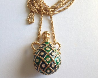 Bejeweled Green and Blue Enamel Jug Necklace Rhinestones