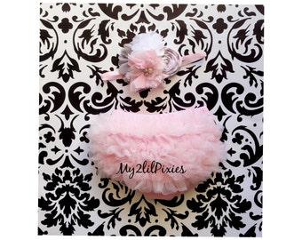 Baby girl 2 piece set - Baby girl HEADBAND and Ruffle Bum Baby bloomer, newborn bloomer, cake smash diaper cover, photo prop